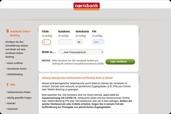 ZinsMarkt der norisbank: Im Online-Banking anmelden