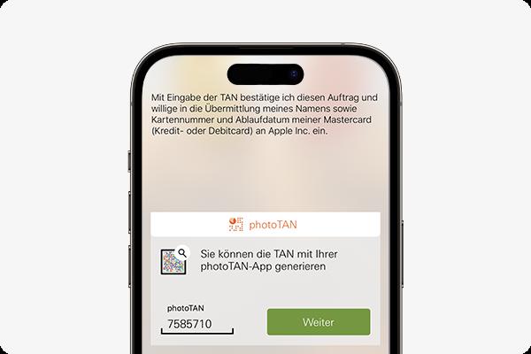 Apple Pay aktivieren - mit photoTAN bestätigen