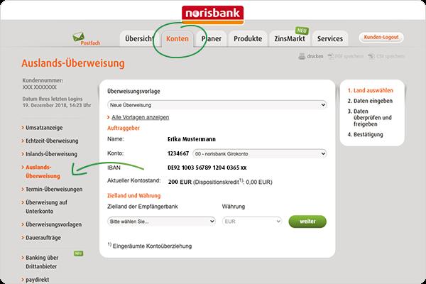 Auslands-Überweisung norisbank