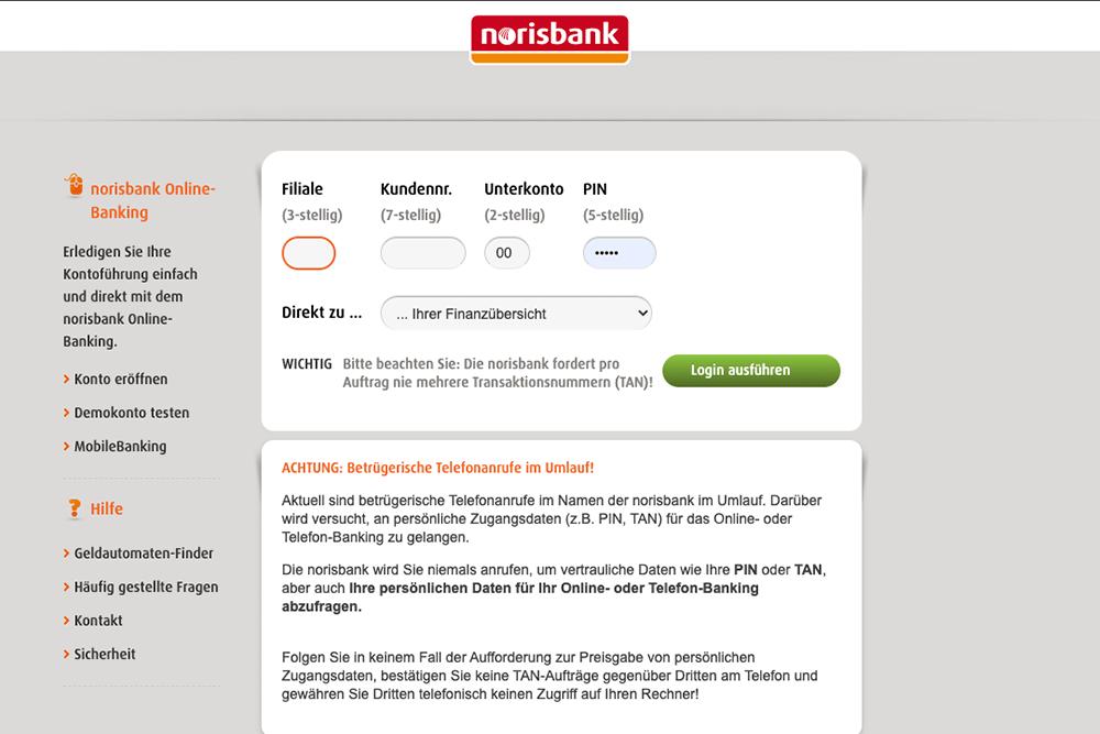 Online-Banking bei der norisbank starten