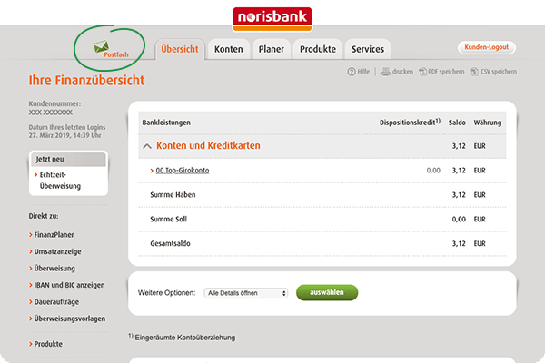 Norisbank Kontoauszüge