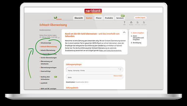 Online-Banking Echtzeit-Überweisung norisbank