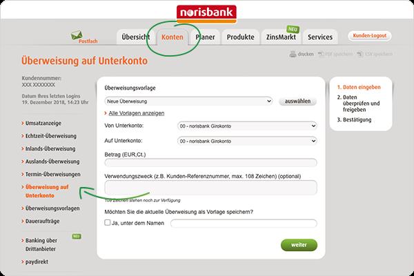 Überweisung Unterkonto norisbank