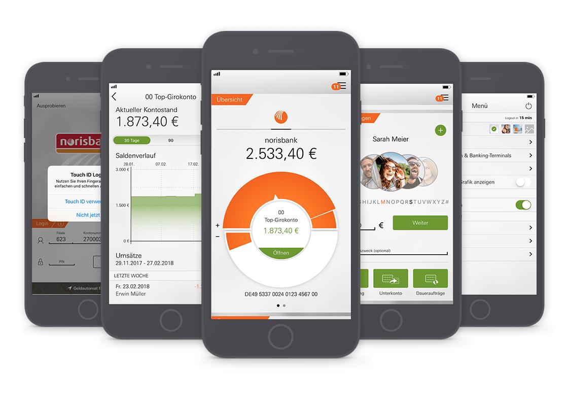 Die neue Generation der norisbank App bietet viele zusätzliche Funktionen und Services