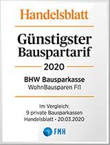 Siegel Handelsblatt - Günstigster Bauspartarif 2020 - BHW Bausparkasse