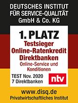 "Siegel ntv ""Testsieger Online-Ratenkredit Direktbanken"""
