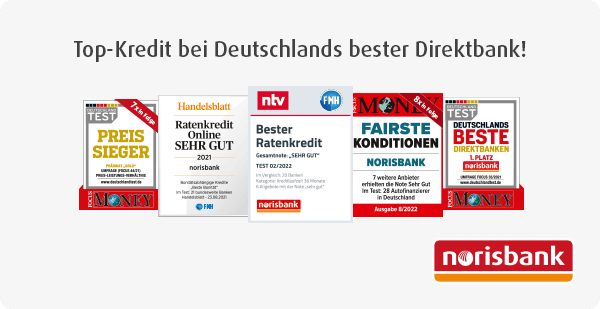 Testsiegel: Beste Ratenkredite – Fairste Konditionen – Beste Direktbank – Preis-Sieger