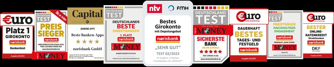 Testsiegel: Bestes Girokonto – Beste Direktbank – Sicherste Online-Bank – Preis-Sieger