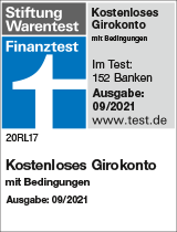 """Siegel Stiftung Warentest """"kostenloses Girokonto ohne Bedingungen"""""""