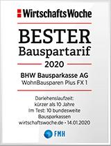 Siegel WirtschaftsWoche - Bester Bauspartarif 2020 - BHW Bausparkasse AG